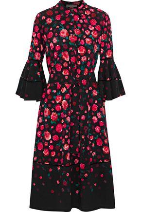 LELA ROSE Open knit-trimmed floral-print crepe dress
