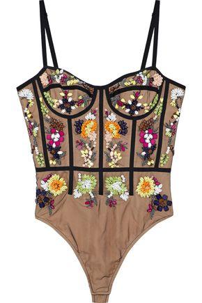 CUSHNIE ET OCHS Mina bead-embellished tulle bodysuit