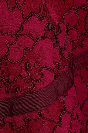 LELA ROSE Grosgrain-trimmed corded lace dress