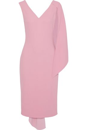 CUSHNIE Leta asymmetric draped stretch-cady midi dress