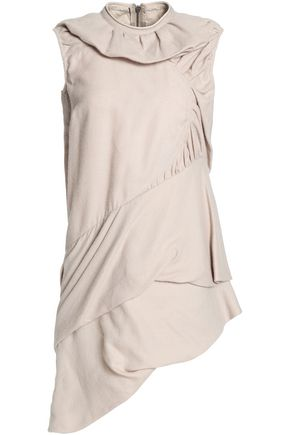 RICK OWENS Gathered draped silk and wool-blend tunic