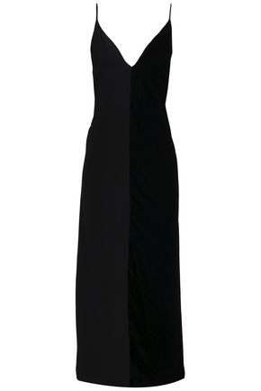 BY MALENE BIRGER Paneled velvet and silk crepe de chine slip dress
