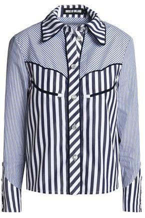 HOUSE OF HOLLAND Paneled striped cotton-poplin shirt