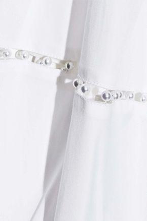 LELA ROSE Faux pearl-embellished cotton-blend poplin shirt