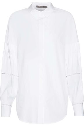LELA ROSE Faux pearl-embellished cotton-blend poplin shirt