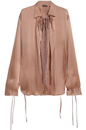 ANN DEMEULEMEESTER Velvet-trimmed pussy-bow silk-satin blouse