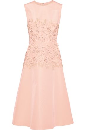 LELA ROSE Embellished silk-faille dress