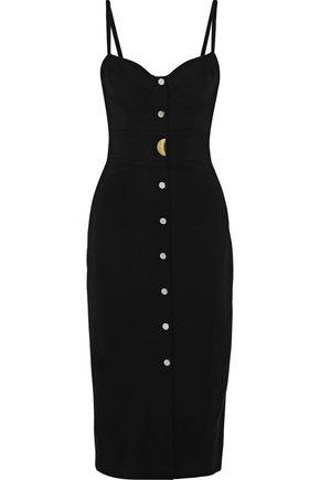 CUSHNIE ET OCHS Ellis button-embellished stretch-cady midi dress