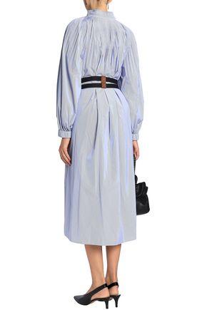 TIBI Belted pleated striped poplin midi dress