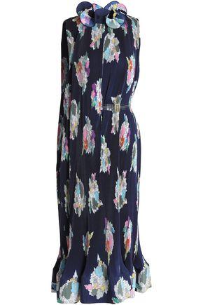 TIBI Printed plissé crepe de chine midi dress