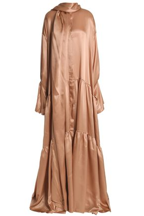 ANN DEMEULEMEESTER Tiered gathered silk-satin gown