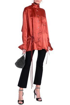 ANN DEMEULEMEESTER Draped silk-satin blouse