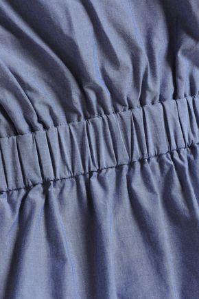 CHALAYAN Cold-shoulder gathered cotton-chambray dress