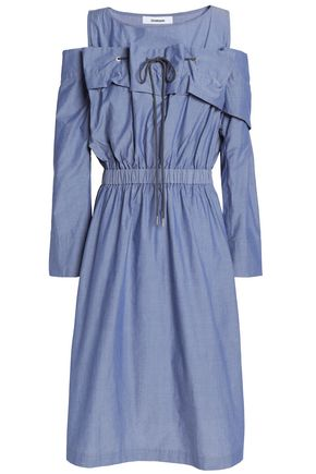 CHALAYAN Cold-shoulder gathered cotton-chambray dress