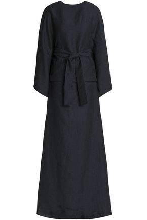 CHALAYAN Belted embroidered linen-blend maxi dress