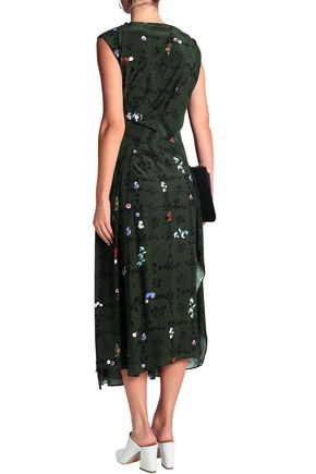 PREEN LINE Pleated floral-print jersey maxi dress