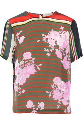 PREEN LINE Layla floral-print striped crepe de chine T-shirt