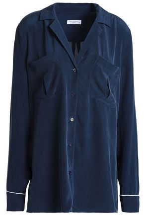 EQUIPMENT Piped trimmed silk shirt