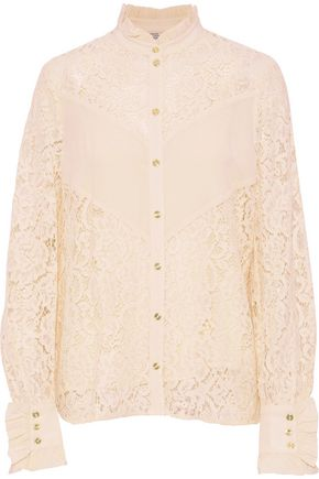 BAUM UND PFERDGARTEN Crepe-paneled cotton-blend corded lace shirt