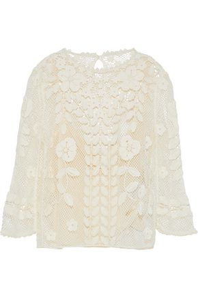 REDValentino Floral-appliquéd crocheted cotton top