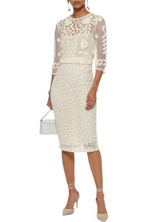 REDValentino Floral-appliquéd crocheted cotton top
