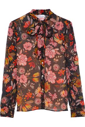 REDValentino Floral-print silk-georgette blouse
