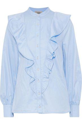 BAUM UND PFERDGARTEN Marsala ruffled cotton-poplin blouse