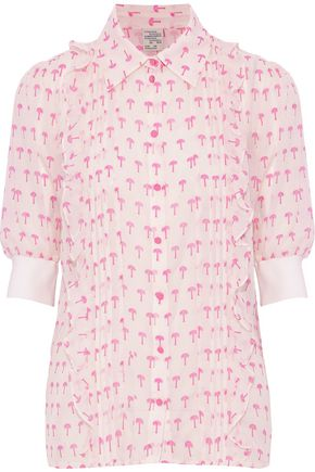 BAUM UND PFERDGARTEN Ruffled printed cotton and silk-blend shirt