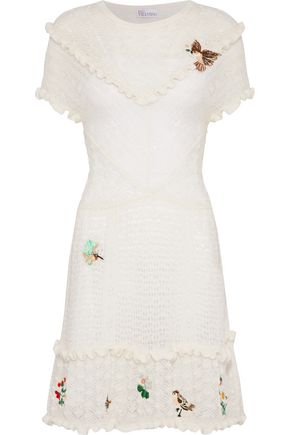 REDValentino Embellished crochet-knit mini dress