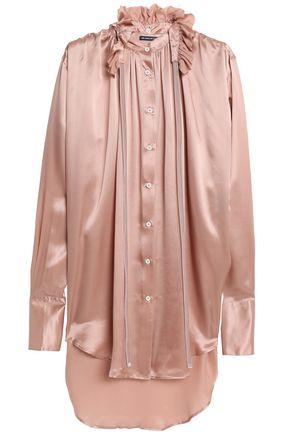 ANN DEMEULEMEESTER Ruffle-trimmed silk-satin blouse