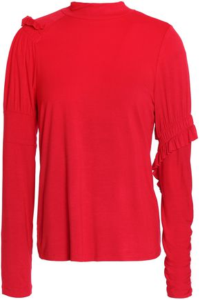 PREEN LINE | Preen Line Ruffle-Trimmed Stretch-Cotton Jersey Top | Goxip