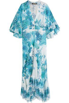 ROBERTO CAVALLI Ruffled printed silk crepe de chine maxi dress