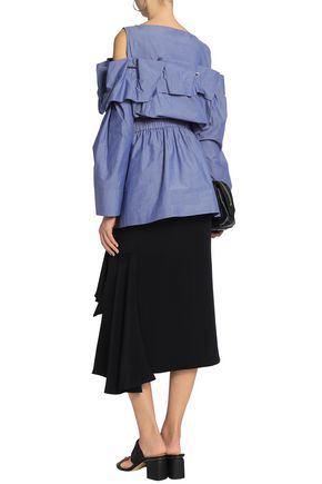 CHALAYAN Cold-shoulder gathered cotton-chambray top