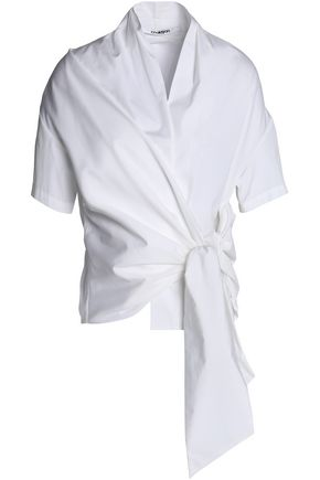 CHALAYAN Wrap-effect tie-front cotton-poplin shirt