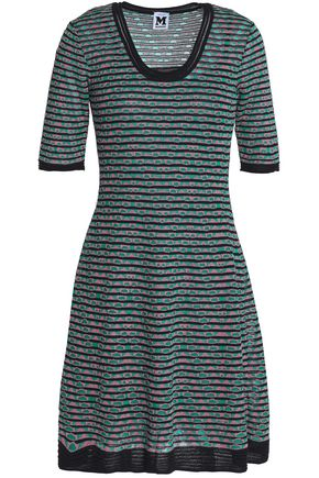 M MISSONI Fluted metallic crochet-knit mini dress