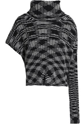 M MISSONI Asymmetric marled cotton-blend sweater
