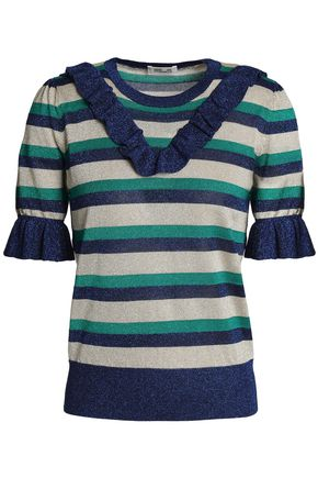 BAUM UND PFERDGARTEN Ruffled striped knitted top