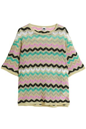 M MISSONI Metallic crochet-knit cotton-blend top