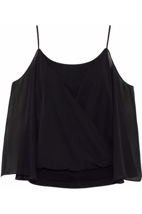 BAILEY 44 Tombe cold-shoulder layered chiffon and jersey top