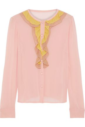 REDValentino Ruffled color-block silk-blend crepe de chine blouse