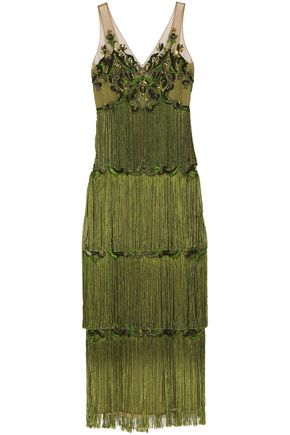 MARCHESA NOTTE Embellished fringed tulle gown