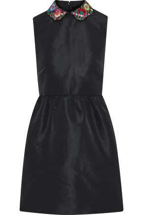 REDValentino Embroidered satin-faille mini dress