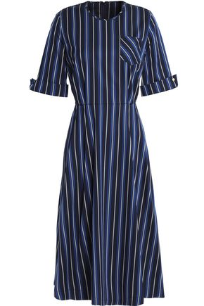 BAUM UND PFERDGARTEN Fluted striped twill midi dress
