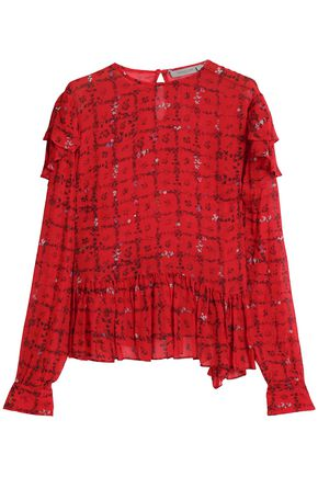 PREEN LINE Bryoni ruffle-trimmed floral-print crepe de chine blouse