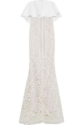 RACHEL GILBERT Odette strapless layered twill and guipure lace gown