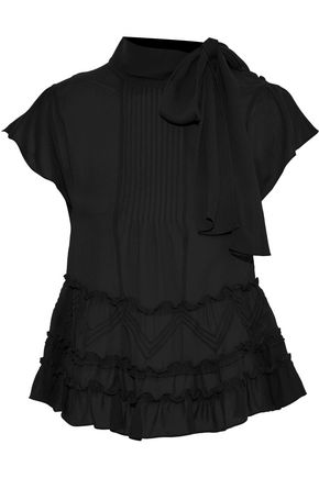 REDValentino Pleated ruffle-trimmed silk-chiffon blouse