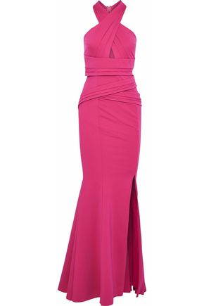 RACHEL GILBERT Sabelle crossover pleated ponte gown