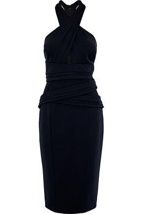 RACHEL GILBERT Sabelle crossover pleated ponte midi dress