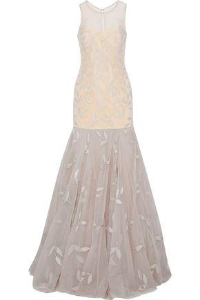 RACHEL GILBERT Adele satin-appliquéd tulle gown