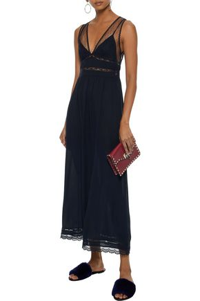 REDValentino Lace-trimmed point d'esprit and silk-crepe midi dress